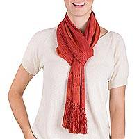 Rayon scarf, 'Bonfire' - Guatemalan Loom Woven Red and Orange Striped Rayon Scarf