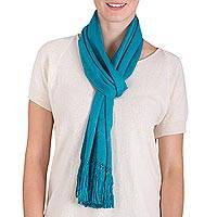 Rayon scarf, 'Lake Chichoy' - Artisan Crafted Blue Rayon Scarf from Guatemala