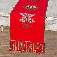 Cotton table runner, 'Christmas Gathering in Red' - Loom Woven 100% Cotton Table Runner in Red from Guatemala