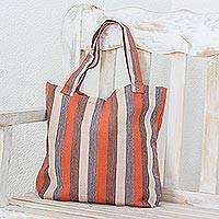 Cotton tote bag, 'Autumn Lines' - Hand Woven 100% Cotton Tote Bag with Earthtone Stripes