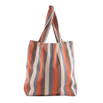 Hand Woven 100% Cotton Tote Bag with Earthtone Stripes