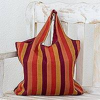 Cotton shoulder bag, 'Horizon Lines' - Handwoven Striped Cotton Shoulder Bag from Guatemala