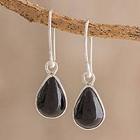 Jade dangle earrings, 'Drops of Harmony in Black' - Drop-Shaped Jade Dangle Earrings in Black from Guatemala