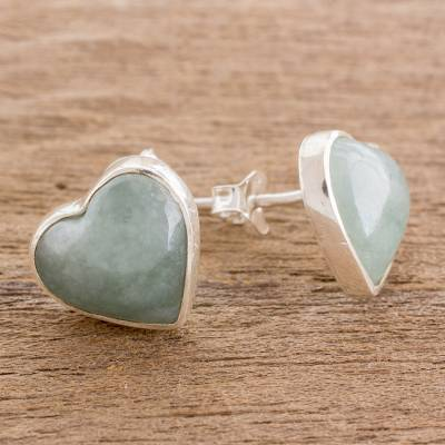 Jade button earrings, 'Love Reflection in Light Green' - Heart-Shaped Light Green Jade Button Earrings from Guatemala