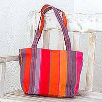 Cotton tote, 'Island Illusion' - Handwoven Colorful Cotton Tote from El Salvador