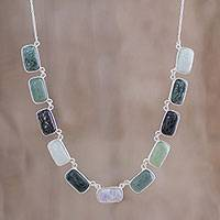 Jade pendant necklace, 'Peaceful Radiance' - Jade and Sterling Silver Pendant Necklace from Guatemala