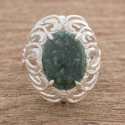 Guatemalan Jade and Sterling Silver Cocktail Ring