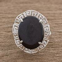Jade cocktail ring, 'Ancestral Pride' - Sterling Silver and Black Jade Cocktail Ring from Guatemala
