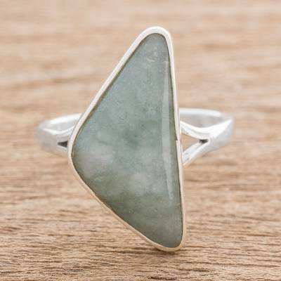 Triangular Jade Cocktail Ring in Light Green from Guatemala
