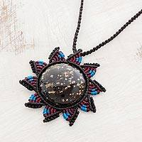Obsidian pendant necklace, 'Dawn of Freedom' - Macrame Cord Pendant Necklace with Obsidian Sun