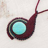 Pendant necklace, 'Magnificent Spiral' - Reconstituted Pendant Necklace with Macrame Cord