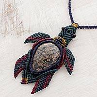 Obsidian pendant necklace, 'Island Turtle' - Obsidian Turtle Pendant Necklace with Macrame Cord