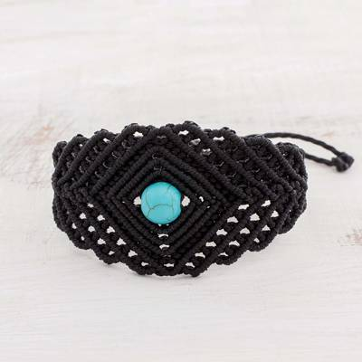 Macrame wristband bracelet, 'Color in the Dark' - Macrame Wristband Bracelet with Reconstituted Turquoise
