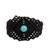 Macrame wristband bracelet, 'Color in the Dark' - Macrame Wristband Bracelet with Reconstituted Turquoise (image 2a) thumbail