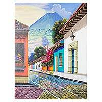 'Road to San Felipe' - Signed Street Scene of Antigua Guatemala in Oils