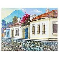 'Antigua' - Signed Painting of Antigua Guatemala in Oils on Canvas
