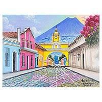 'Arch of Santa Catalina' - Signed Painting of a the Santa Catalina Arch in Guatemala