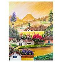 'Las Tomas' - Colorful Guatemalan Landscape Scene of Las Tomas Village