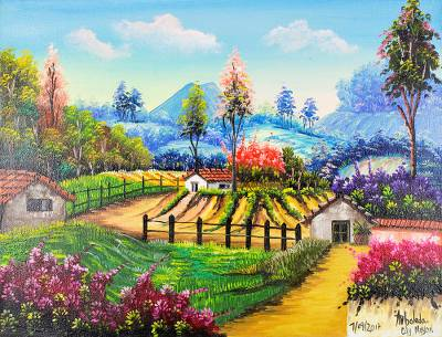 'Grove' - Signed Landscape Painting of a Grove from Guatemala