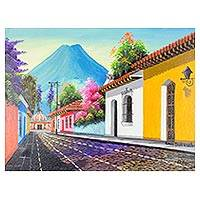'Road to Escuela de Cristo' - Signed Colorful Cityscape Painting from Guatemala