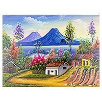 'Panajachel View' - Signed Landscape and Mountain Painting from Guatemala