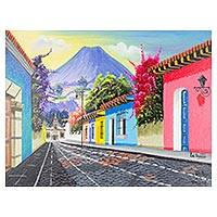'Charms' - Signed Colorful Cityscape Painting from Guatemala