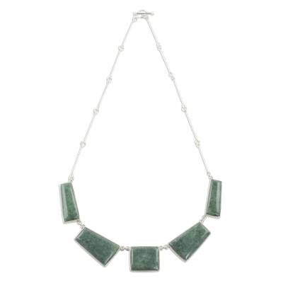 Sterling Silver and Light Green Jade Pendant Necklace