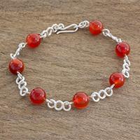 Agate beaded link bracelet, 'Guatemalan Charm' (Guatemala)