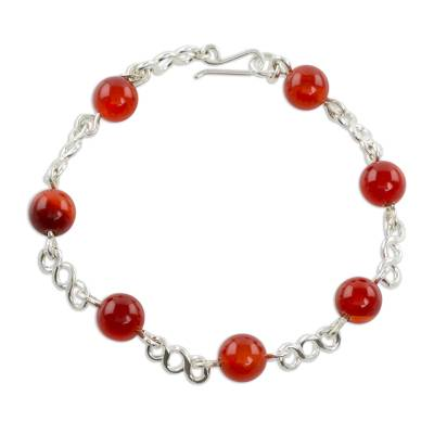 Guatemalan Sterling Silver and Agate Beaded Link Bracelet