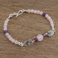 Rose quartz and amethyst beaded pendant bracelet Flowers of Love (Guatemala)