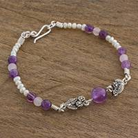 Multi-gemstone beaded pendant bracelet, 'Flowers of Passion' (Guatemala)
