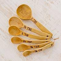 Wood measuring spoons, 'Taste of Guatemala' - Coffee Tree Wood Measuring Spoons from Guatemala