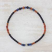 Multi-gemstone beaded stretch anklet, 'Colorful Constellation' - Multi-Gemstone Beaded Stretch Anklet from Guatemala