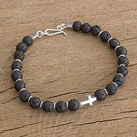 Volcanic rock beaded pendant bracelet, 'Cross of Fire' - Sterling Silver Cross and Black Volcanic Rock Bead Bracelet