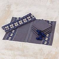 Cotton table linen set, 'Striped Paths in Graphite' (set of 4) - Cotton Table Linen Set (4) in Graphite from Guatemala