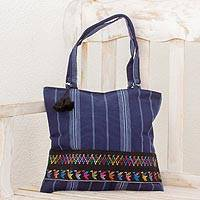 Cotton shoulder bag, 'Tactic Stripes on Navy' - Handwoven Navy Blue Cotton Shoulder Bag from Guatemala
