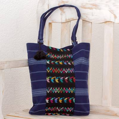 Cotton tote bag, 'Tactic Stripes in Navy' - Handwoven Striped Cotton Tote Bag in Navy from Guatemala