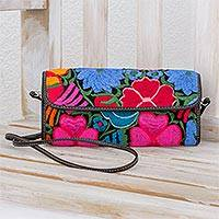 Leather accent embroidered cotton baguette, 'Colorful Guatemalan' - Floral Embroidered Cotton Baguette from Guatemala