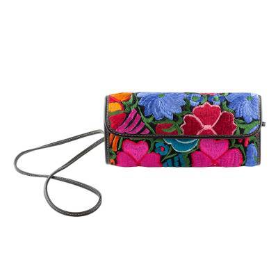 Floral Embroidered Cotton Baguette from Guatemala