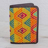 Leather accent cotton passport wallet, 'Diamond Splendor' - Diamond Motif Cotton Passport Wallet from Guatemala