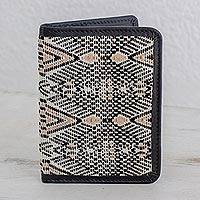 Leather accent cotton passport wallet, 'Tricolor Beauty' - Tricolor Cotton and Leather Passport Wallet from Guatemala