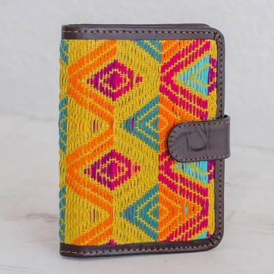 Leather accent cotton passport wallet, 'Colorful Splendor' - Handcrafted Leather Accent Cotton Passport Wallet