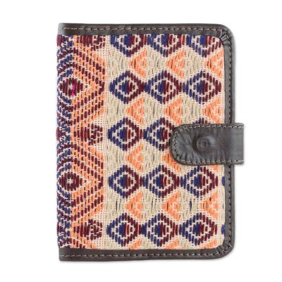 Colorful Leather Accent Cotton Passport Wallet