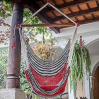 Handwoven cotton hammock swing, 'Celebration and Relaxation' (single) - Handwoven Cotton Hammock Swing from Nicaragua