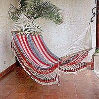 Handwoven cotton hammock, 'Celebration and Relaxation' (single) - Handwoven Striped Cotton Hammock (Single) from Nicaragua