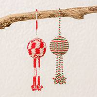 Glass beaded ornaments, 'Holiday Caring' (pair) - Guatemalan Hand Beaded Red, White and Green Ornaments (pair)