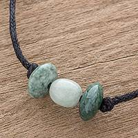Jade pendant necklace, 'Hues of Youth' - Unisex Tricolor Jade Pendant Necklace from Guatemala