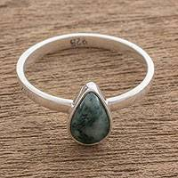 Jade single stone ring, 'Ancient Drop' - Drop-Shaped Jade Single Stone Ring from Guatemala
