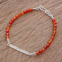 Agate beaded pendant bracelet, 'Bold and Bright' - Handcrafted Orange Agate Beaded Pendant Bracelet