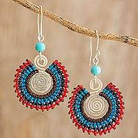 Macramé dangle earrings, 'Corona in Red' - Colorful Macramé Sterling Silver Earrings